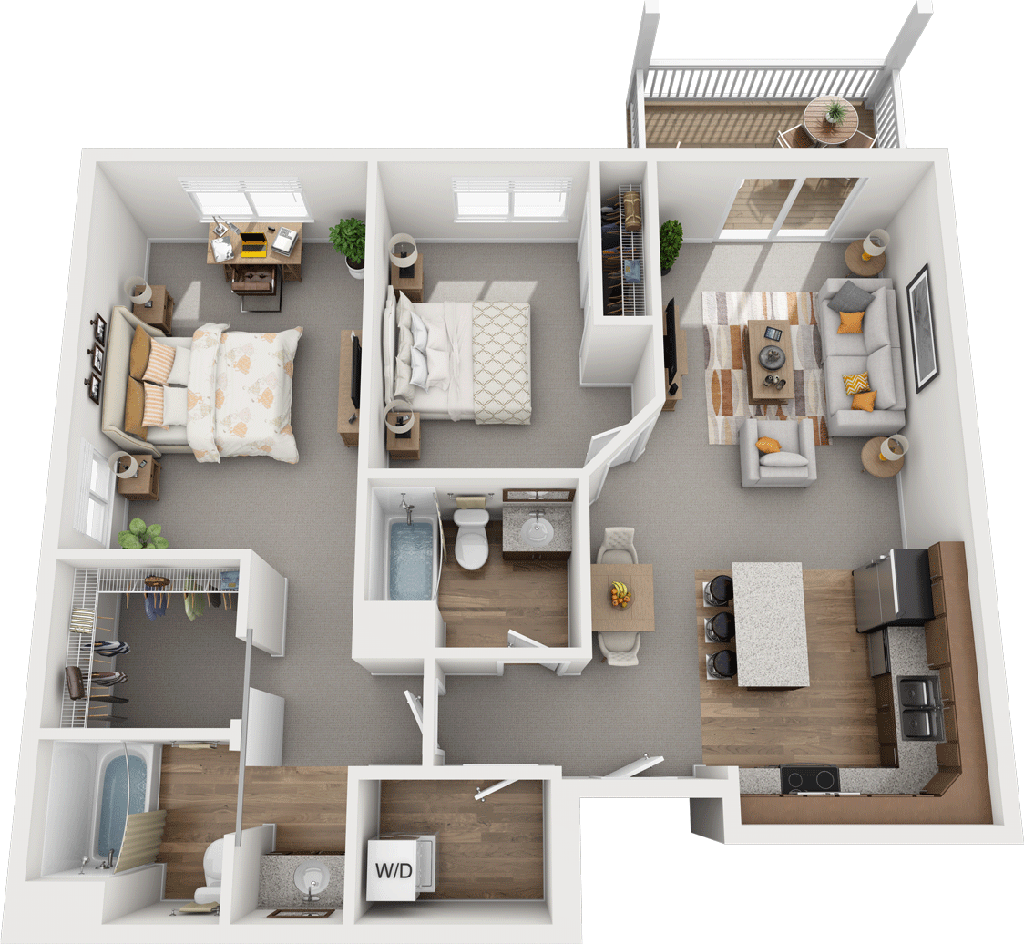 The Hemlock, 2BD 2BA Floorplan