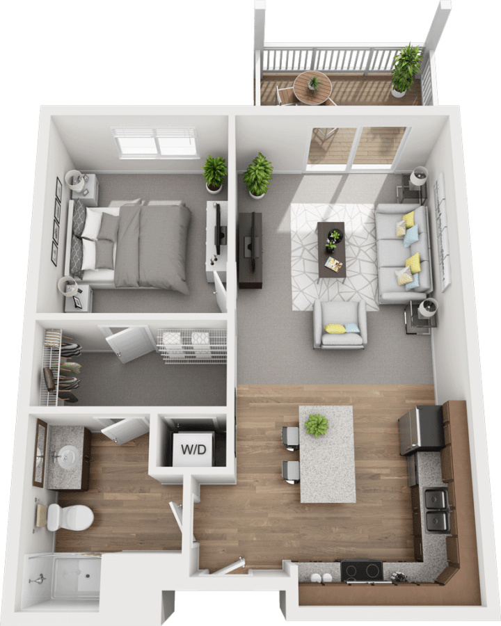 The Spruce, 1BD 1BA Floor Plan
