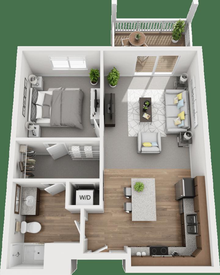 The Spruce, 1BD 1BA Floor Plan