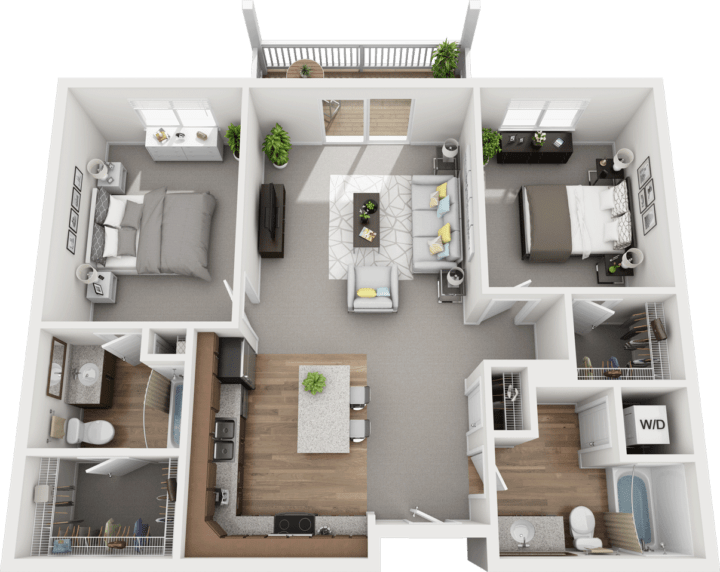 The Juniper, 2BD 1BA Floor Plan