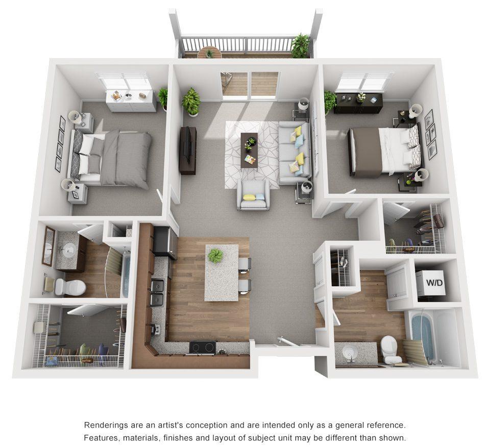 2 bed floor plan drawing
