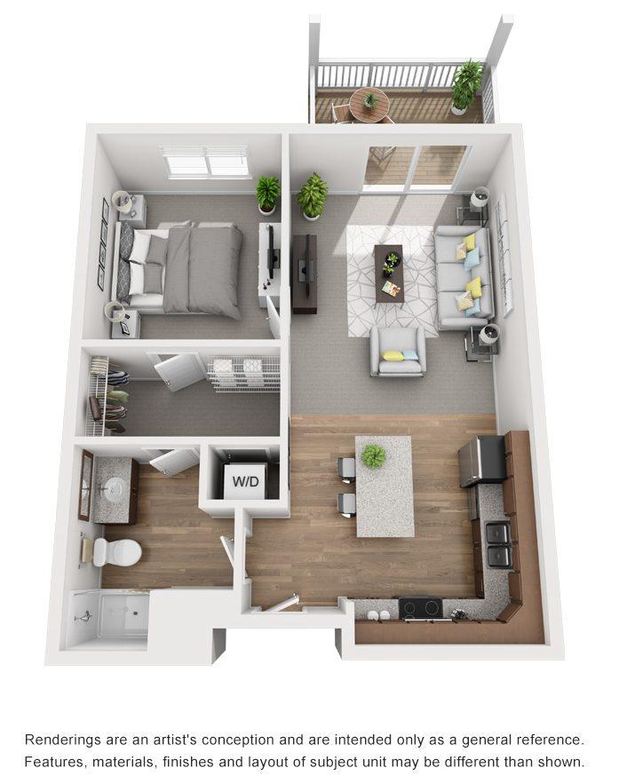 1 bed floor plan drawing